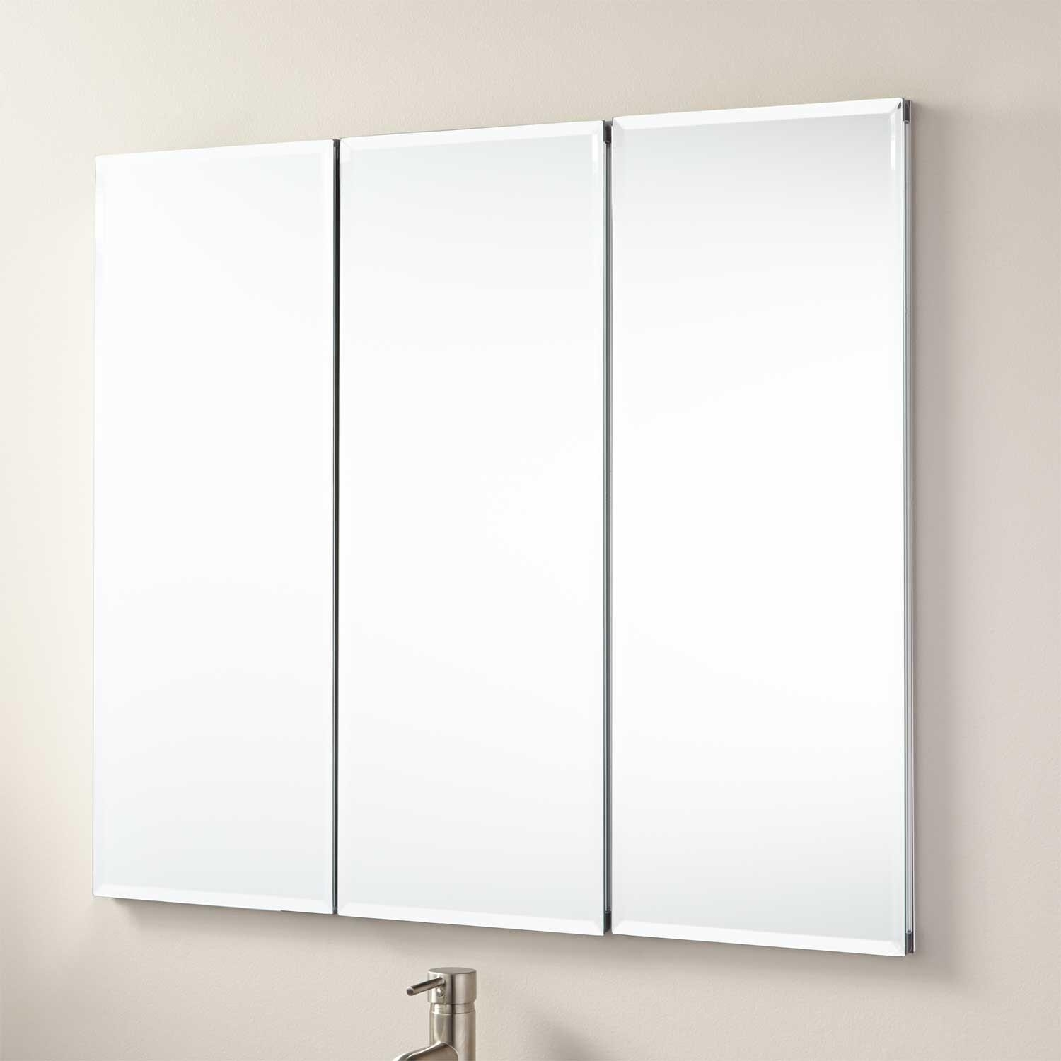 "36"" Longview Recessed Mount Medicine Cabinet – Bathroom Pertaining To 3 Door Medicine Cabinets With Mirrors (Image 3 of 20)"