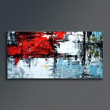 "36"" Pink Light Blue Gray Brown Black From Editvorosart With Red White And Blue Wall Art (Image 1 of 20)"