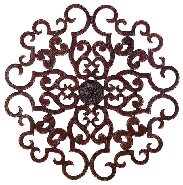 "38"" Large Brown Scroll Wall Medallion, Round Art Metal Iron Swirl For Large Round Metal Wall Art (Image 2 of 20)"