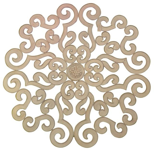 "38"" Large White Scroll Wall Medallion, Round Art Metal Iron Swirl With Regard To Metal Medallion Wall Art (Image 1 of 20)"