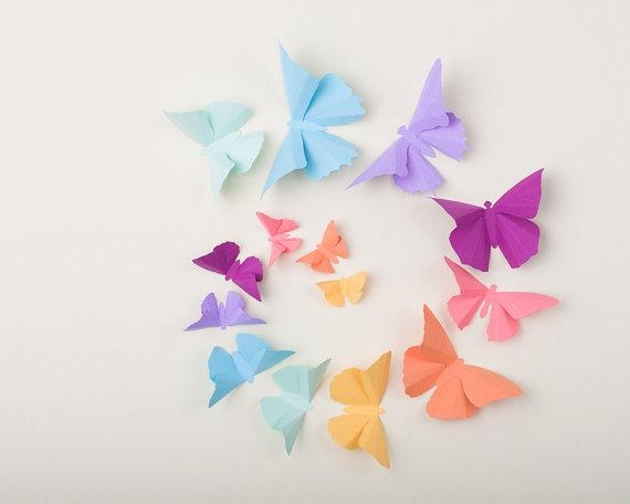 3D Butterfly Wall Art For Nursery | Wallartideas Within Rainbow Butterfly Wall Art (Image 5 of 20)