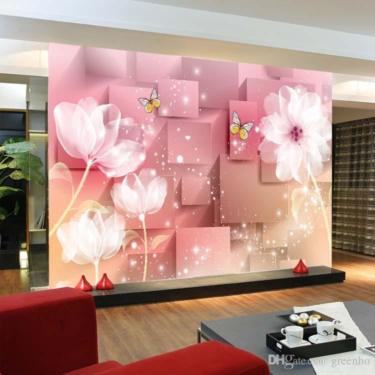 3D Murals Elegant 3D Photo Wallpaper White Lotus Wall Mural Silk In Pink And White Wall Art (Image 3 of 20)