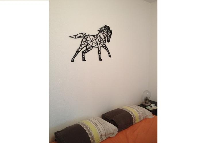3D Printed Horse Line Art Wall Artflowtero | Pinshape Within 3D Printed Wall Art (Image 5 of 20)