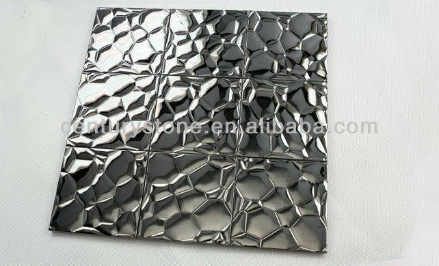 3D Wall Decor Silver Stainless Steel Mosaic Tiles Metal Wall Art For 3D Metal Wall Art (Image 3 of 20)