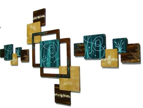 3Pc Teal Green N Brown Geometric Abstract Floral Wall Sculpture With Teal And Brown Wall Art (Image 1 of 20)