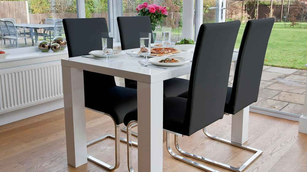 4 Seat Dining Set | White Gloss Table | Cantilever Chairs For Most Current Small 4 Seater Dining Tables (Image 3 of 20)