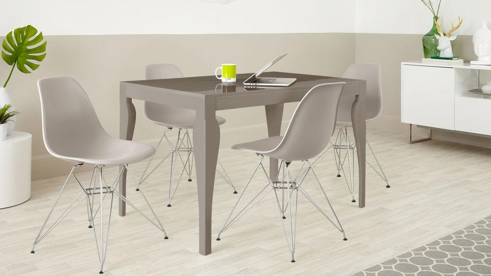 4 Seater Dining Set | Taupe Grey Gloss | Eames Dining Chairs Inside Grey Gloss Dining Tables (Photo 6 of 20)