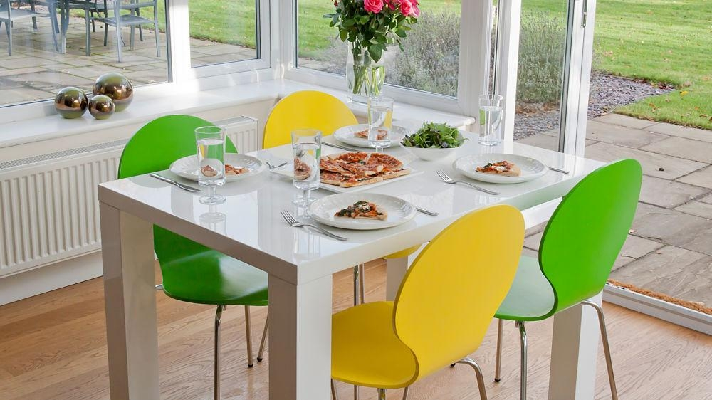 4 Seater Dining Set | White Gloss Table | Coloured Chairs Uk Intended For 2018 Small 4 Seater Dining Tables (Image 4 of 20)