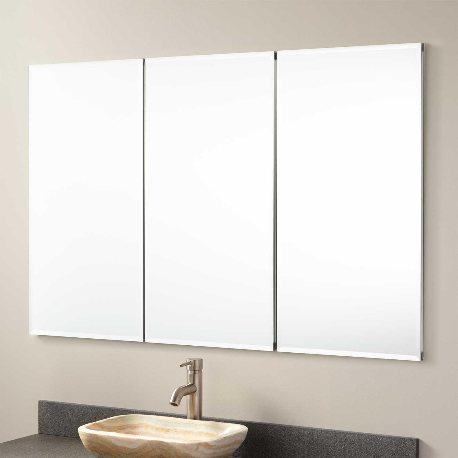 "48"" Furview Recessed Mount Medicine Cabinet – Bathroom Inside 3 Door Medicine Cabinets With Mirrors (Image 4 of 20)"