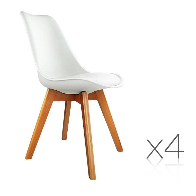 4X Replica Eames Pu Leather Dining Chairs In White | Buy Sets Of 4 In Latest Perth White Dining Chairs (Image 3 of 20)