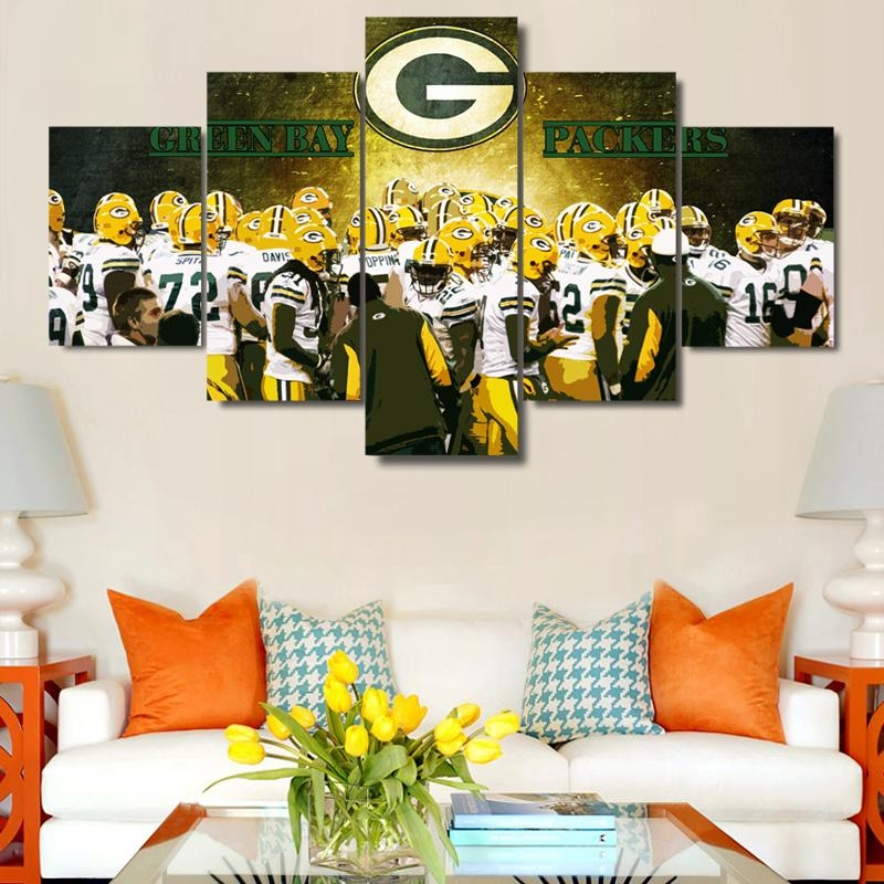 5 Panels Green Bay Packers Wall Art Picture Modern Home Decoration Within Green Bay Packers Wall Art (View 19 of 20)