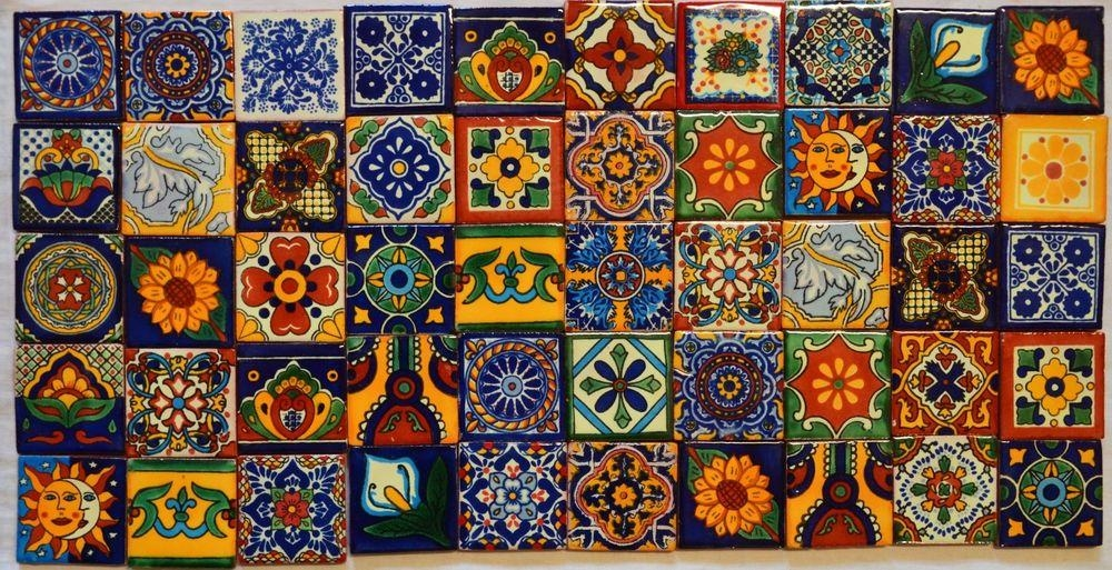 50 Mexican Talavera Tiles 2X2 Clay Handmade Folk Art Mosaic With Mexican Ceramic Wall Art (Photo 10 of 20)