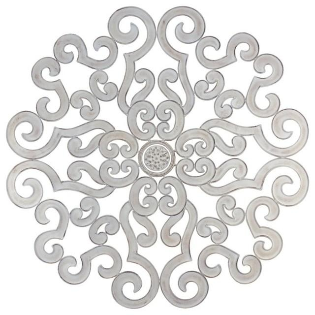 "50"" Oversize White Scroll Wall Medallion, Round Art Metal Iron Regarding White Medallion Wall Art (Image 1 of 20)"