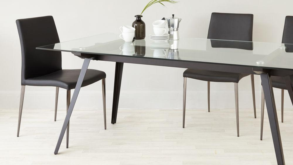 6 – 8 Seater Glass Dining Table | Black Powder Coated Legs Intended For Most Recently Released Square Black Glass Dining Tables (Image 2 of 20)