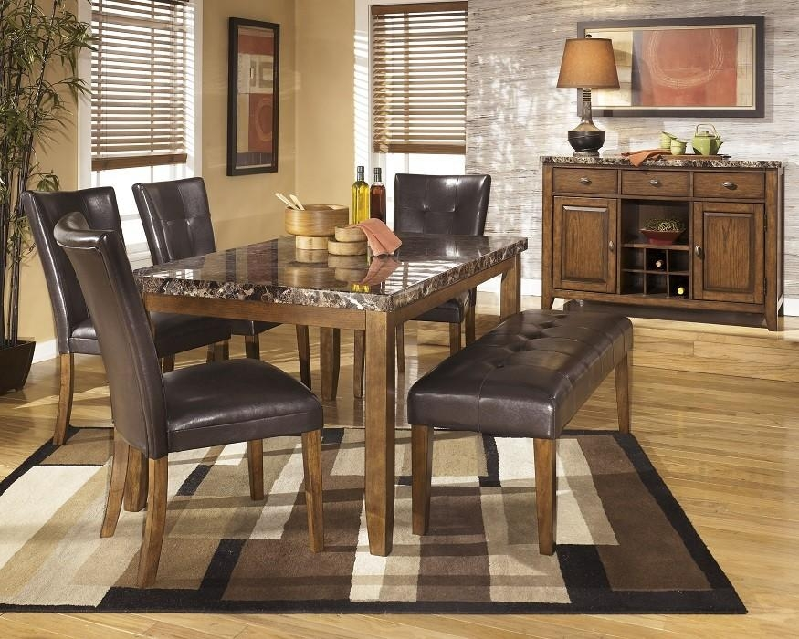 6 Piece Modern Faux Marble Dining Set – Medium Brown – Sam Levitz For Most Recently Released Marble Dining Chairs (Image 2 of 20)