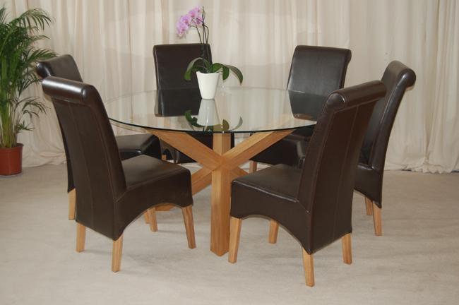 6 Seater Round Glass Dining Table Oak And Glass Round Four Seater Within Recent Oak 6 Seater Dining Tables (Photo 11 of 20)