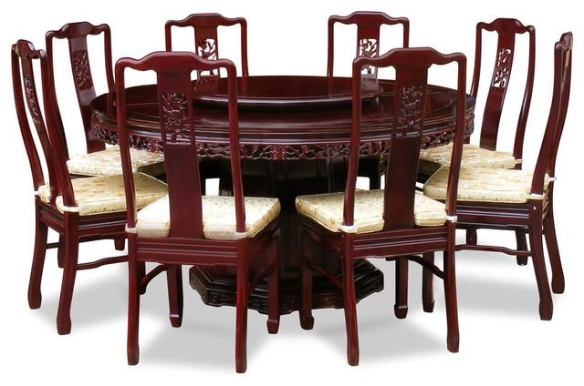 "60"" Rosewood Flower And Bird Design Round Dining Table With 8 Within Most Up To Date Dining Tables 8 Chairs Set (View 5 of 20)"