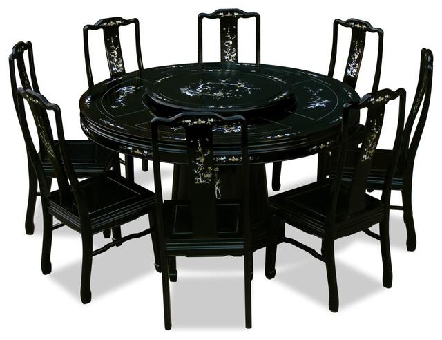 "60"" Rosewood Pearl Inlaid Design Round Dining Table With 8 Chairs Inside Newest Dining Tables And 8 Chairs Sets (Image 2 of 20)"