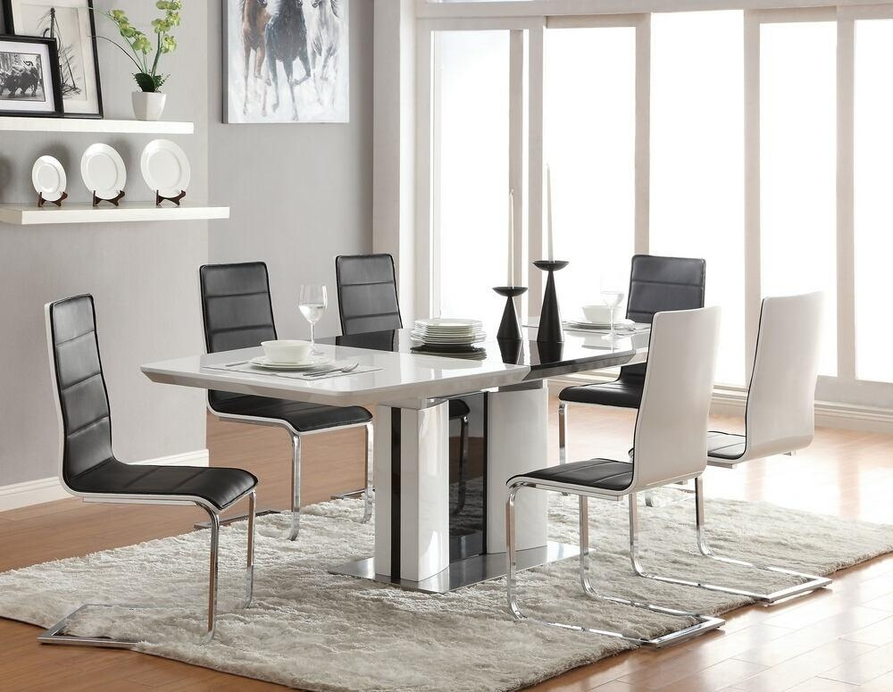 7 Pc Broderick Collection In High Gloss Dining Tables (View 12 of 20)