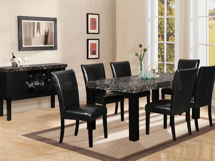 7 Piece Black Marble Dining Table | Black Dining Room Set (Table For Most Current Black Wood Dining Tables Sets (Image 2 of 20)