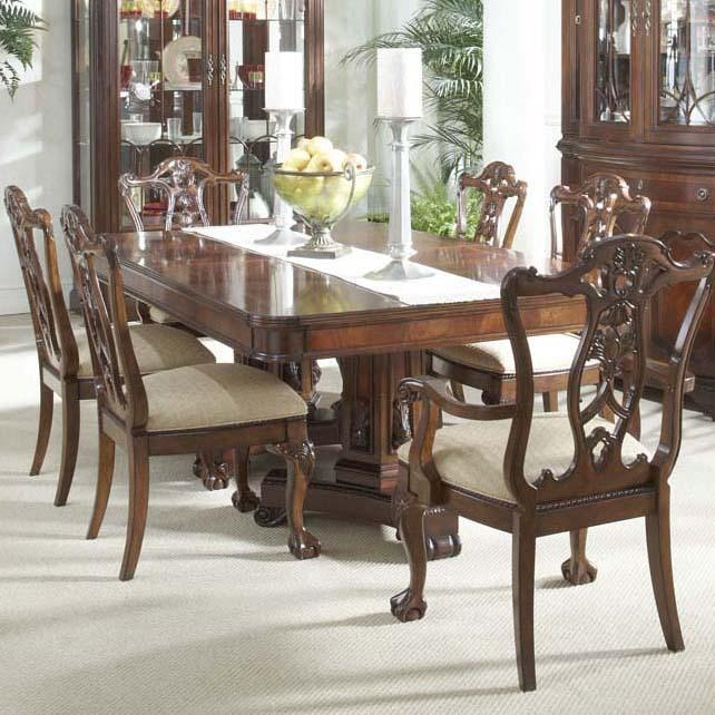 7 Piece Dining Room Set With Elegant Double Pedestal Table And In 2018 Pedestal Dining Tables And Chairs (Photo 13 of 20)