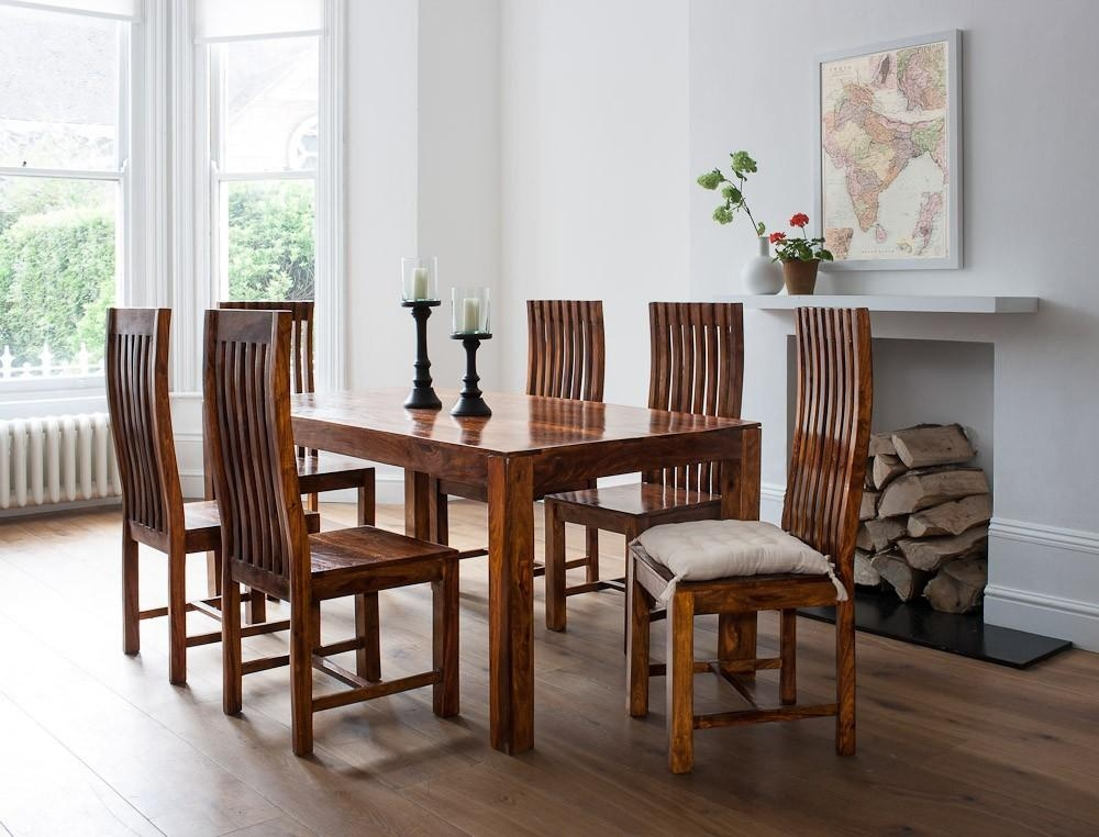 7 Piece Solid Wood Dining Set| Casa Bella Sheesham Indian Furniture With Indian Wood Dining Tables (Image 2 of 20)