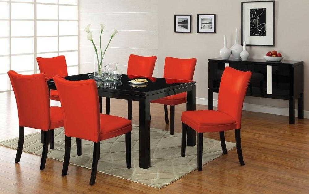 7Pc Lamia Black High Gloss Lacquer Dining Table Set + 6 Red Chairs Throughout Most Current Red Gloss Dining Tables (Image 3 of 20)