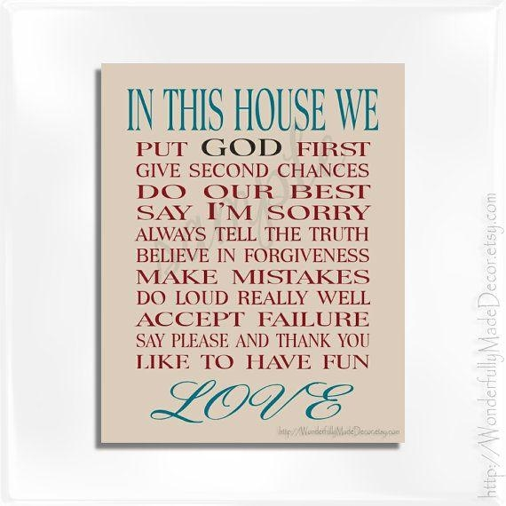 8 Best Christianity Images On Pinterest | Christian Families With Regard To Personalized Family Rules Wall Art (View 10 of 20)