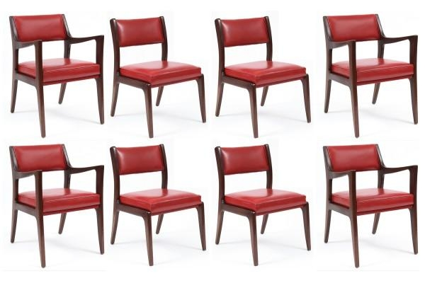 8 Harvey Probber Mahogany & Leather Dining Chairs | Red Modern Intended For Red Leather Dining Chairs (Image 1 of 20)