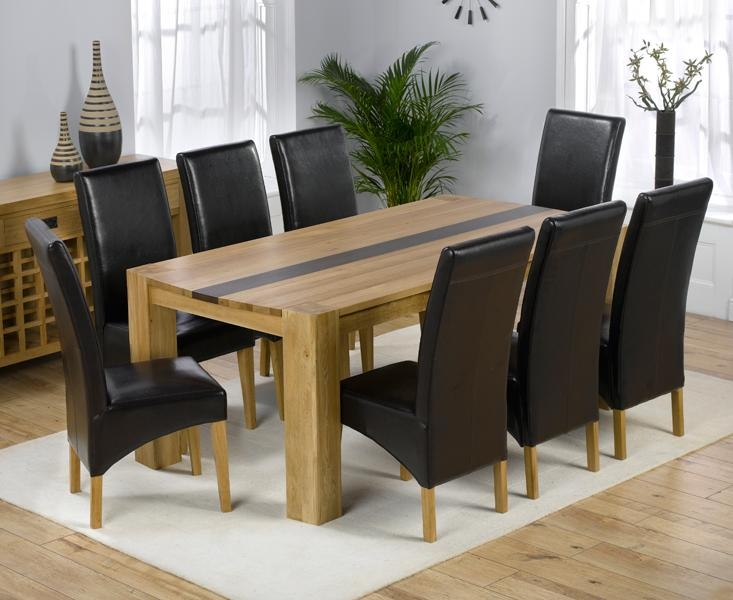 8 Seater Dining Room Table And Chairs » Gallery Dining With Most Recent Oak Dining Tables And Leather Chairs (Image 2 of 20)