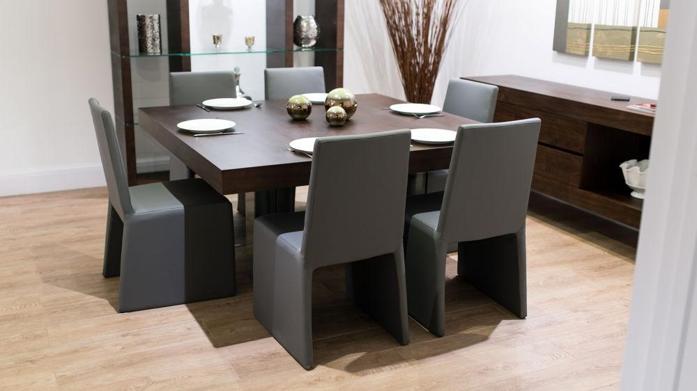 8 Seater Square Dark Wood Dining Table And Chairs | Funky Glass Legs Throughout Newest Dark Wood Square Dining Tables (Image 3 of 20)