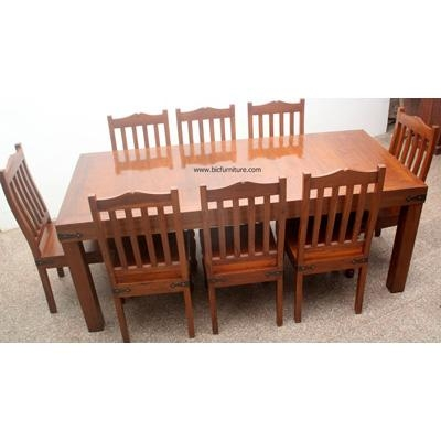 8 Seater Wooden Dining Set In Solid Teak | Indian Design Furniture Pertaining To Most Recently Released Indian Dining Tables And Chairs (Image 1 of 20)