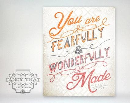 8X10 Art Print Fearfully & Wonderfully Made Orange Pink Throughout Fearfully And Wonderfully Made Wall Art (Image 1 of 20)