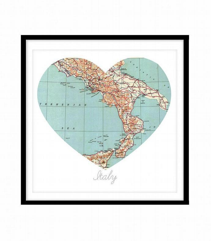 8X8 Italy Heart Map, Vintage Map Wall | Kaleidoscopephoto For Old Italian Wall Art (Photo 19 of 20)