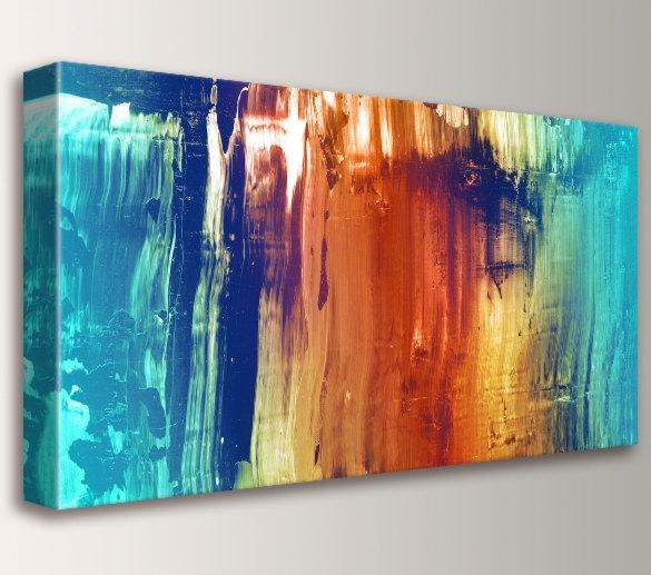 Abstract Art Canvas Print Modern Wall Art Abstract Intended For Orange And Blue Wall Art (Image 3 of 20)