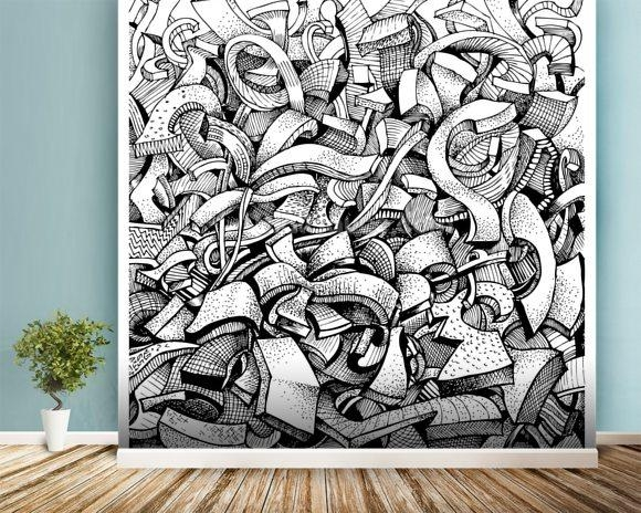 Abstract Doodles Wallpaper Wall Mural | Wallsauce Usa Intended For Abstract Art Wall Murals (View 14 of 20)