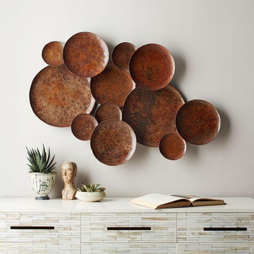 Abstract Metal Pebble Wall Art | West Elm Regarding Hammered Metal Wall Art (Image 4 of 20)