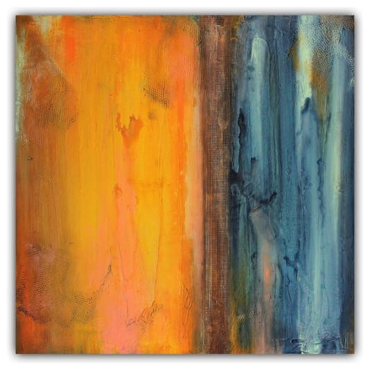 Abstract Orange And Blue Wall Art, Textured Painting Within Orange And Blue Wall Art (Image 5 of 20)