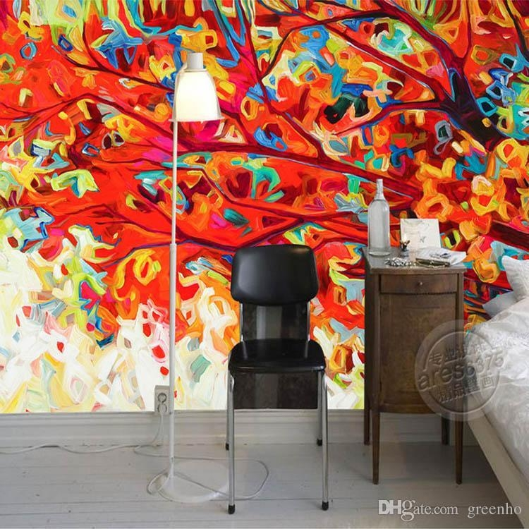 Abstract Painting Wallpaper Colorful Trees Wall Murals 3D Custom Throughout Abstract Art Wall Murals (View 19 of 20)