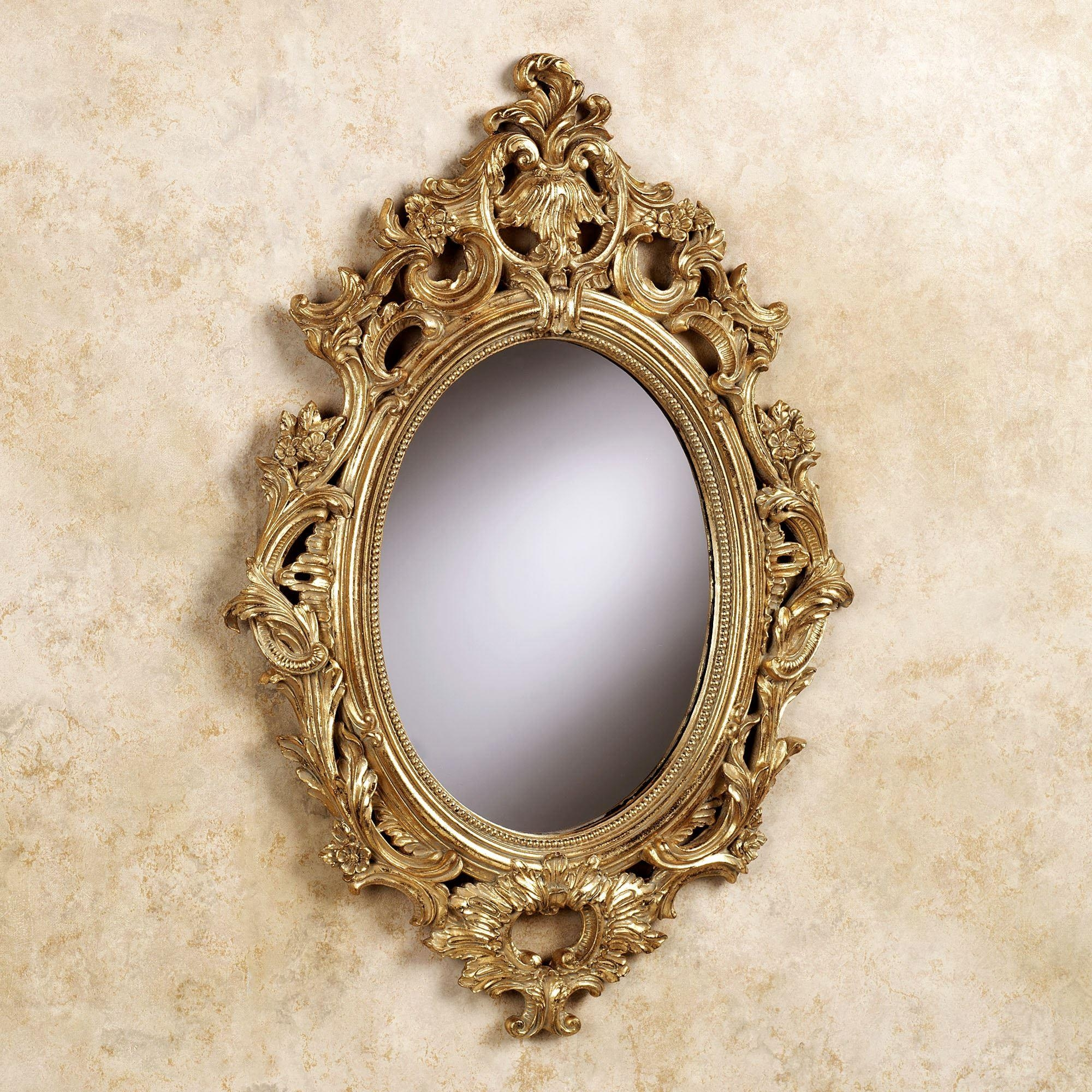 Acanthus Oval Wall Mirror In Gold Oval Mirrors (Image 1 of 20)