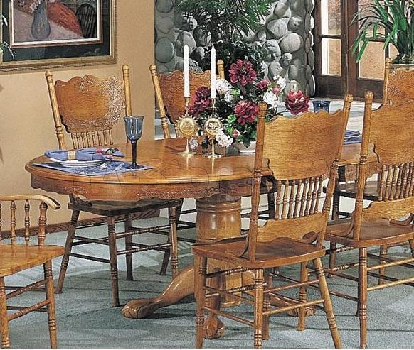 Acme Furniture Nostalgia Oak Pedestal Dining Table With Carved Inside Most Popular Pedestal Dining Tables And Chairs (Image 4 of 20)