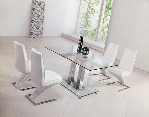 Actona Glass Dining Table And 4 Faux Leather Chairs Cream | Ebay For Best And Newest Glass Dining Tables And Leather Chairs (Image 3 of 20)