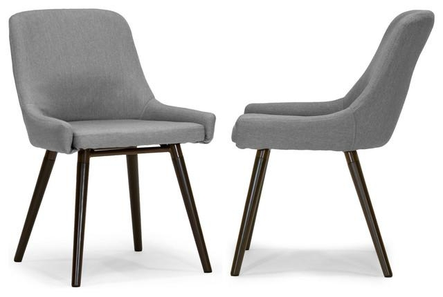 Ade Modern Gray Fabric Dining Chairs With Beech Legs, Set Of 2 For Latest Fabric Dining Chairs (Image 1 of 20)