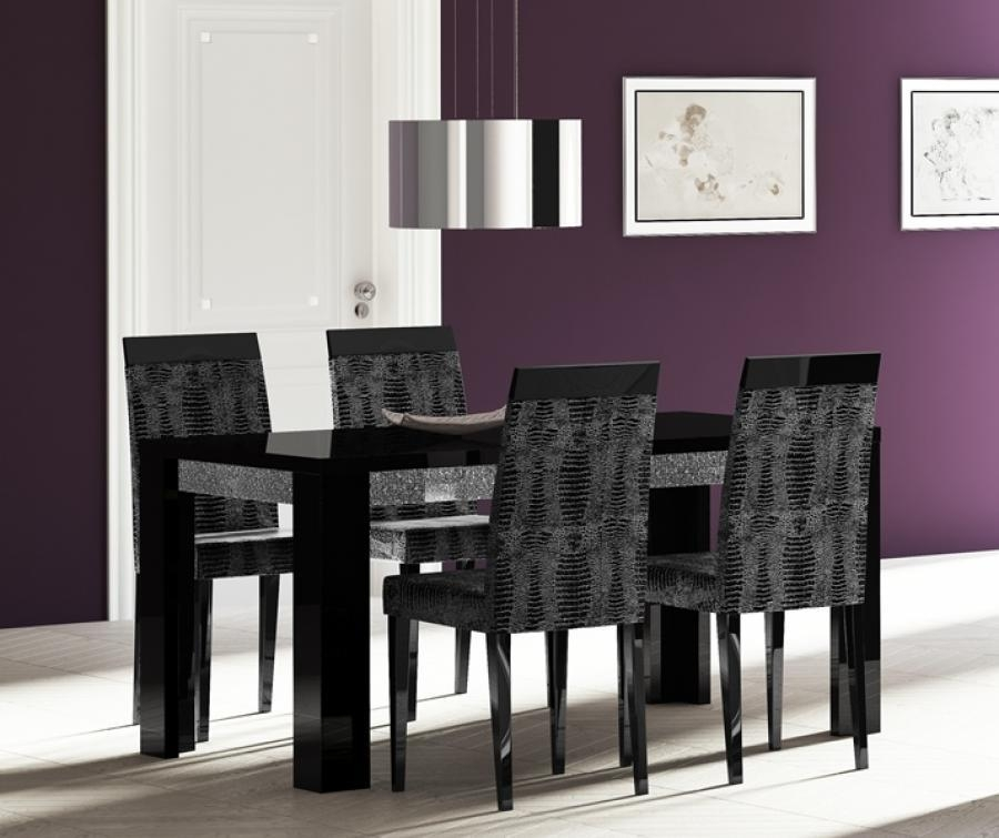 Adorable Black Wood Dining Table With Black Wood Dining Table For Most Current Black Gloss Dining Room Furniture (View 12 of 20)