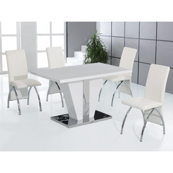 Adorable White Glass Dining Table With Glass Dining Table Sets Regarding Most Up To Date High Gloss White Dining Tables And Chairs (Image 2 of 20)