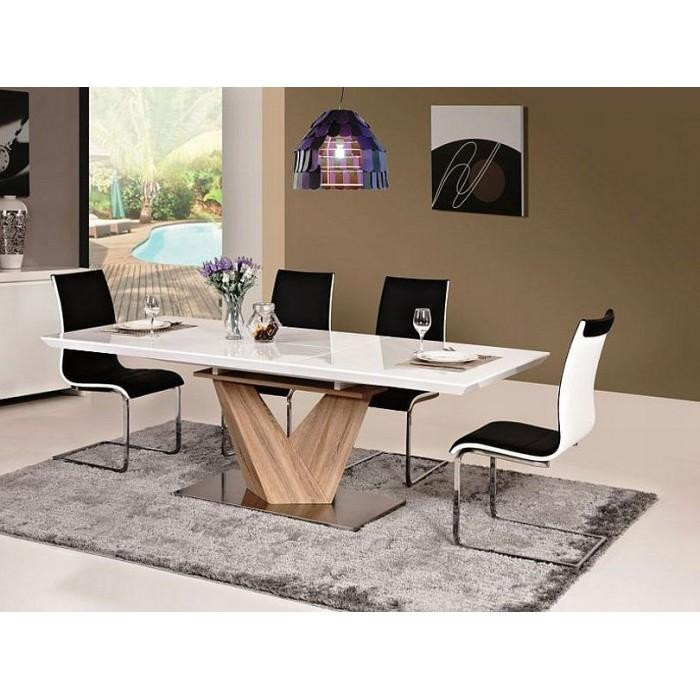 "Alaras"" White High Gloss Extended Dining Table With Pedestal In In Newest High Gloss Extending Dining Tables (View 19 of 20)"
