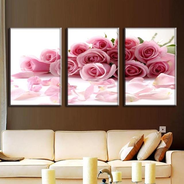 Aliexpress : Buy 3 Pcs/set Framed Flower Canvas Print Rose With Rose Canvas Wall Art (View 6 of 20)