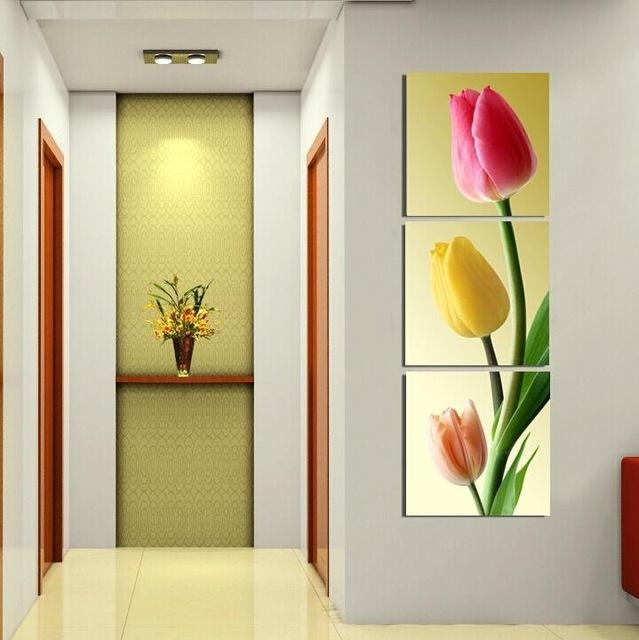 Aliexpress : Buy 3 Piece Wall Art Pink Flower Painting Canvas Regarding 3 Piece Floral Wall Art (View 11 of 20)