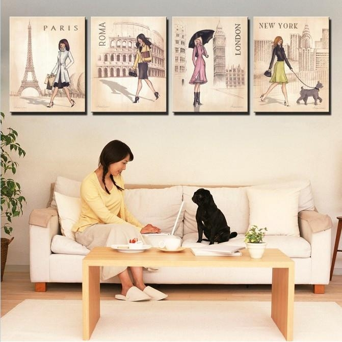 Aliexpress : Buy 4 Piece Wall Art Canvas New York Paris London For Parisian Wall Art (Image 3 of 20)