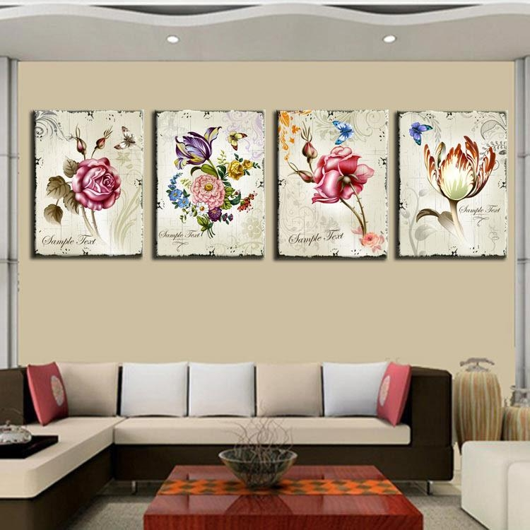 Aliexpress : Buy 4 Pieces Classic Floral Wall Art Canvas Inside Floral Wall Art Canvas (View 3 of 20)